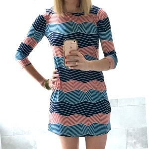 BCBG Maxazria digital wave multi stripe dress NWT